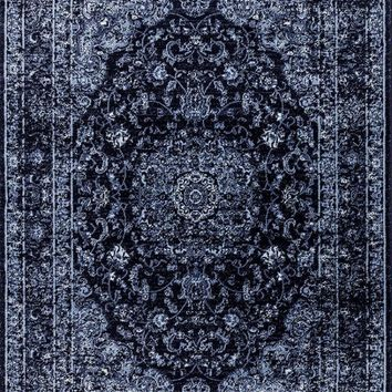 1232 Navy Blue Distressed Oriental Area Rugs
