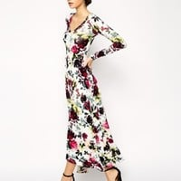 ASOS PETITE Exclusive Maxi Dress In Winter Floral With Dippped Hem In Jersey