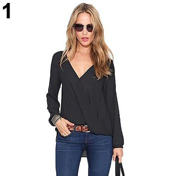 Women's Deep V-Neck Sexy Solid Color Chiffon Long Sleeve Blouse Casual Top