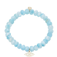 Single Stone Evil Eye Charm on Faceted Larimar Beads | Moda Operandi