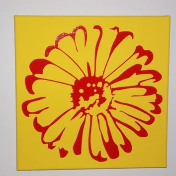 FLOWER BURST Painted/Decorated  Canvases - you pick colors