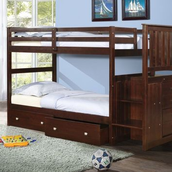 Parker Cappuccino Bunkbed with Stairs and Storage