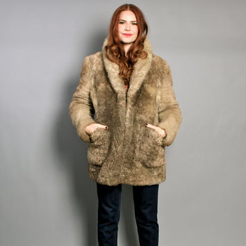 70s SHEARLING FUR COAT / Ultra Warm Shaggy Beige Teddy Bear Jacket