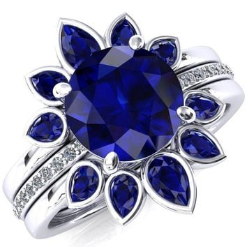 Flora Round Lab-Created Blue Sapphire 1/2 Eternity Accent Diamond Ring