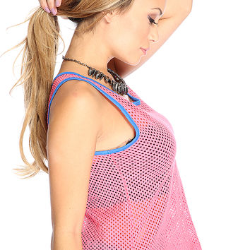 Casual Two Tone Netted Casual Pink Blue Top