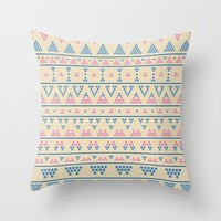 blue and pink tribal pattern Throw Pillow by Berwies