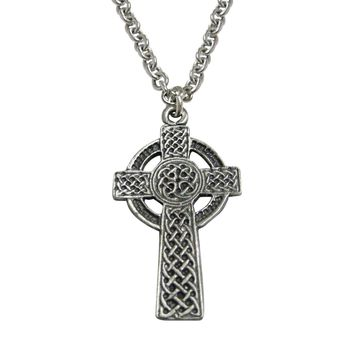 Very Large Celtic Cross Pendant Necklace