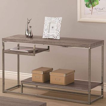 Contemporary Style Wooden Metallic Sofa Table With Two Shelves, Gray - 703729