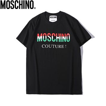 Moschino 2019 early spring new color letter printing men and women models round neck short-sleeved T-shirt Black