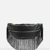 Missguided - Black Faux Leather Tassel Fanny Pack