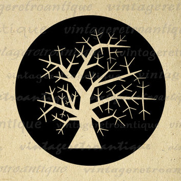 Winter Tree Image Graphic Digital Illustration Download Printable Antique Clip Art for Transfers Printing etc HQ 300dpi No.2060