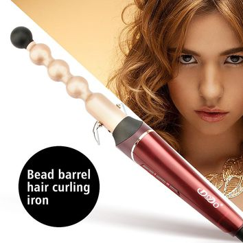 Tourmaline Ceramic Bead Iron Hair Curler Wand LCD Temperature Control Hair Curling Irons Electric Hair Styling Salon Tools