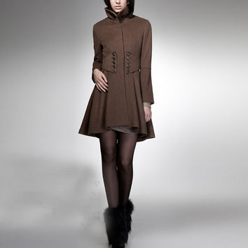 winter BROWN coat with long sleeves, MAXI coat with double breasted button, 82% wool princess coat , tailored coat,Size XS,S,M,L.FM033