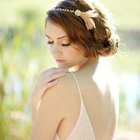 Feather headband, blush headband, headpiece - style 1119
