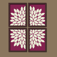 Bold Maroon Ivory Flourish Design Artwork Set of 4 Prints Dahlia Bloom Flowers Bedroom WALL Decor Floral ART Pictures