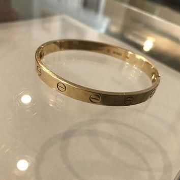 One-nice? Authentic Cartier 18K Love Bracelet Yellow Gold Size 17 Preowned