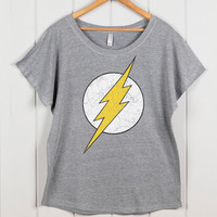 Women's Vintage Inspired Lightning Bolt Shirt- Loose Fitting Sexy Tshirt- Off the Shoulder top- Women's Graphic T-shirt, Women's Blouse