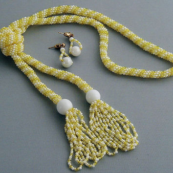 Yellow & White Spiral Rope Lariat Necklace-Earring Set  ~Lariat Necklace~Yellow Necklace~Yellow and White Necklace Set~Summer Set~Classic