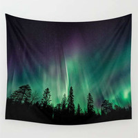 Aurora Borealis, Wall Tapestry, Northern Lights, Tree Tapestry, Forest Tapestry, Wall Hanging, Nature Tapestry, Sky Tapestry, Photo Tapestry