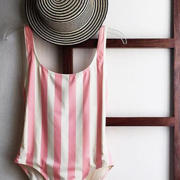 Pink Striped Deep V Neck One Piece Swimsuit