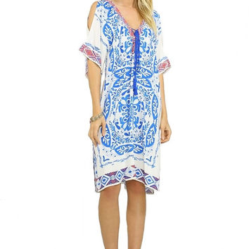 DEL MAR OPEN BACK KAFTAN DRESS - IVORY + BLUE