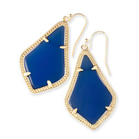 Kendra Scott Alex Navy Cat's Eye Gold Drop Earrings