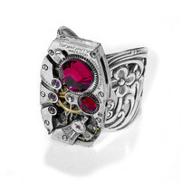 Steampunk Ring by edmdesigns Vintage Art Deco Ruby by edmdesigns