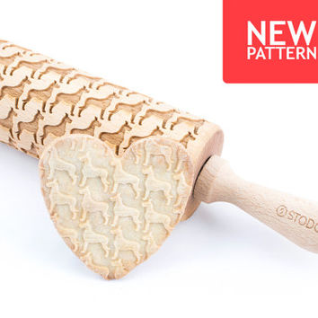 Great dane cropped ears - Embossed, engraved rolling pin for cookies