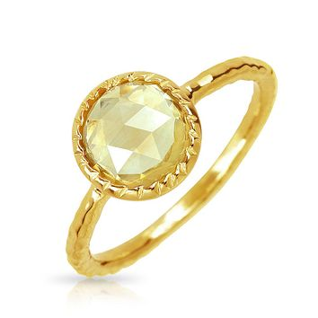 Yellow Citrine Ring Hammered 1mm Band 14K Gold Plate Sterling Silver