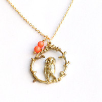 gold cute owl necklace with Branch, coral bead, nature jewelry, Bridal Necklace, christmas Gift, SALE