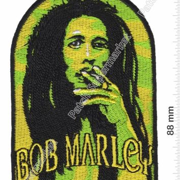 "3.5"" Green BOB MARLEY Reggae ska Jamaica Embroidered Iron On Patch Sew Hat jacket Vest music band rock punk badge"
