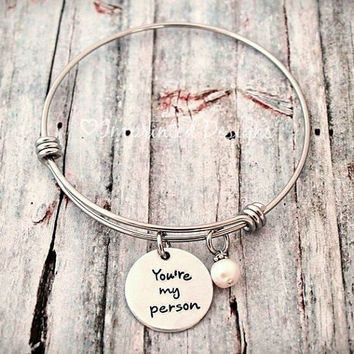 Personalized Alex And Ani Style Bracelet - Expandable - Adjustable - Pearl - You're My Person - Hand Stamped Jewelry - Wire Charm Bangle