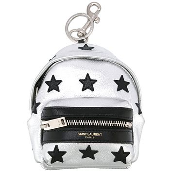 Saint Laurent Silver Unisex Zip Backpack Key Chain Black Stars 441914