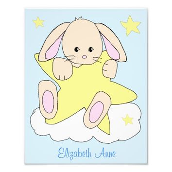 Bunny Cloud Star Woodland Animal Nursery Wall Art