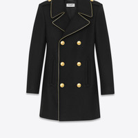 SAINT LAURENT BABYDOLL CABAN COAT IN BLACK WOOL AND NYLON | YSL.COM