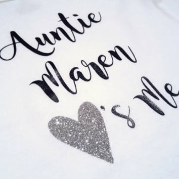 Auntie Uncle Grandma Grandpa Mom Dad love me bodysuit, heart, gold silver glitter, baby girl boy, baby shower gifts for baby, personalized