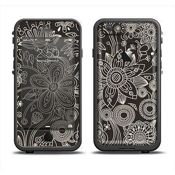 The Black Floral Laced Pattern V2 Apple iPhone 6 LifeProof Fre Case Skin Set