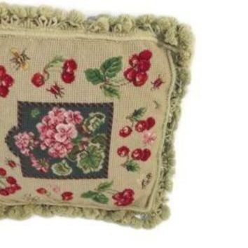 Vintage Sage Green Red cherries and Pink  Floral CROSS STITCH pillow w/ Tassles