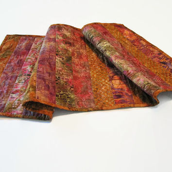 Quilted Batik Table Runner, Fall Colors