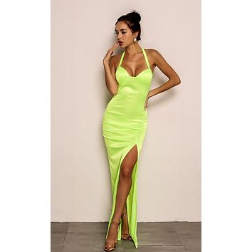 Can't Ignore Me Neon Lime Sleeveless Halter V Neck Side Slit Bodycon Maxi Dress