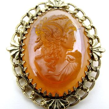 Vintage Amber Glass Cameo Brooch Pin