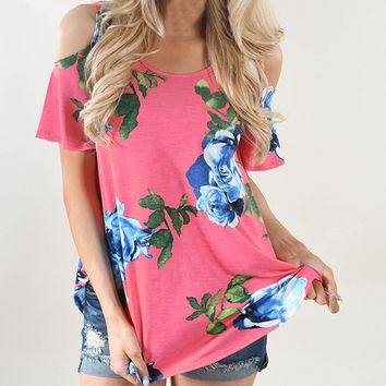 Women Flower Off Shoulder T-Shirt