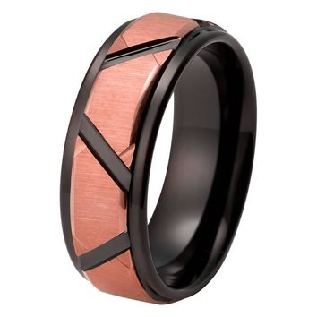 Black Rose Gold Wedding Band Ring Brushed Tungsten Carbide 8mm 18K Tungsten Ring Mens Wedding Band Man Rose Gold Ring Anniversary Matching Black Ring Custom Design