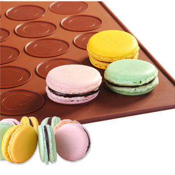 French  Macaron macaroon Silicone Baking Sheet Mat Muffin DIY Chocolate Cookie Mould Mode - 48 Capacity (round)