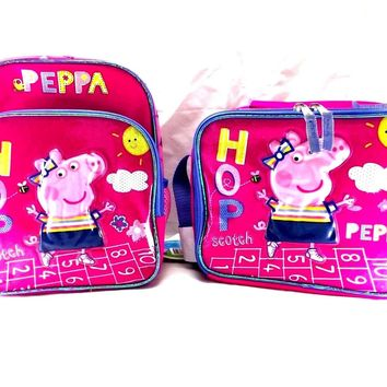 "Entertainment One Peppa Pig Hop Girl 10"" Canvas Pink School Backpack w/Lunch Bag"