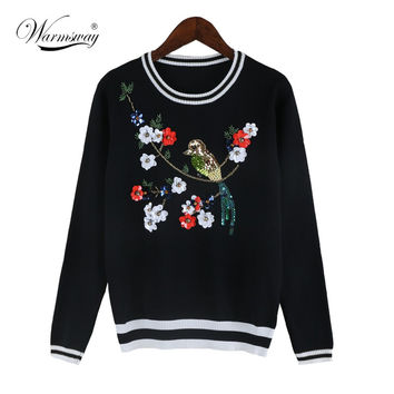 Spring Autumn Runway Designer Pullover Women's High Quality Luxury Diamonds Sequined Birds Floral Sweater WS-117
