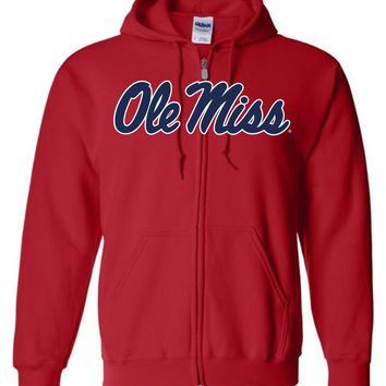 Official NCAA University of Mississippi Rebels Ole Miss Hotty Toddy Basic Zip Hoodie - 95OLM