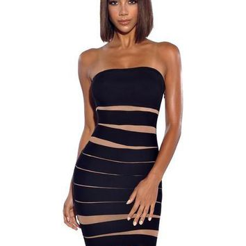Strapless Black Bandage with Mesh Detail Mini Dress