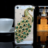 "iPhone 6 Plus Case, MC Fashion Peacock Crystal Rhinestone 3D Diamante Hard Shell Phone Case Compatible for Apple iPhone 6 Plus 5.5"" (2014) ONLY (Green)"