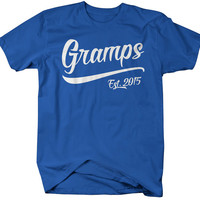 Men's Gramps Est. 2015 T-Shirt Grandpa Shirts Father's Day Gift Idea Established Grandfather Tee
